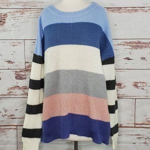 Striped Crewneck Sweater Long Tall Sally M